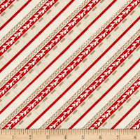 Plaid for the Holidays Diagonal Stripe Ivory/Red