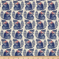 Cotton + Steel S.S. Bluebird Snacks Racoons Navy