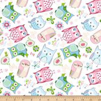 Comfy Flannel Tossed Owls White