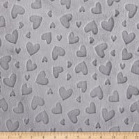 Shannon Minky Embossed Heart Cuddle Silver