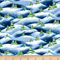 QT Fabrics Just Chillin' Christmas Tree Scenic Denim