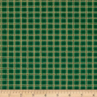Poinsettia Grandeur Metallic Plaid Green
