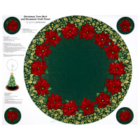 "Poinsettia Grandeur Metallic Tree Skirt 35.5"" Panel Forest"
