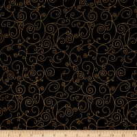 Westrade 110 In. Wide Quilt Back Willow Black/Gold Metallic