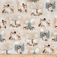 QT Fabrics Woodland Friends Woodland Friends Vignettes Tan
