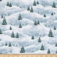 QT Fabrics Woodland Friends Pine Tree Scenic Blue Frost