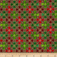 QT Fabrics In Bethlehem Metallic Stained Glass Red