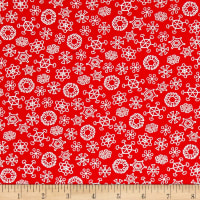 QT Fabrics Frosty the Snowman Everyone's Fav Snowman Snowflakes Red