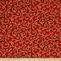 All Is Calm Metallic Scroll Red