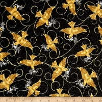 QT Fabrics A Golden Holiday Doves Black
