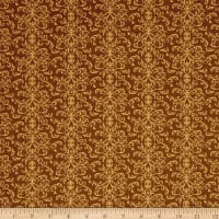 QT Fabrics A Golden Holiday Filigree Brown