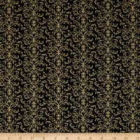 QT Fabrics A Golden Holiday Filigree Black