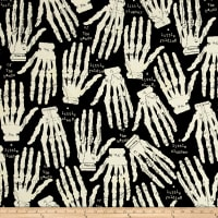 QT Fabrics Queen Of We'en Hands Off Black/Cream