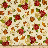 QT Fabrics Harvest Greetings Chrysanthemums Cream
