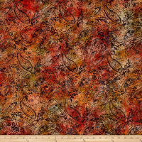Timeless Treasures Tonga Batik Haunted Botanical Paisley Flame
