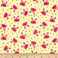 Timeless Treasures Purr-Maids Crabs Yellow