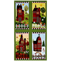 "Timeless Treasures Skinny Barns 23.5"" Panel Green"