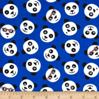 Timeless Treasures Tossed Panda Faces Blue