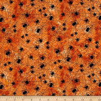 Timeless Treasures Hocus Pocus Spider Web Orange