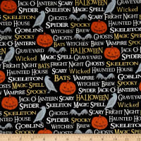 Timeless Treasures Hocus Pocus Halloween Words Noir