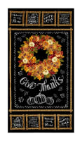"Timeless Treasures Autumn Bounty Metallic Wreath Chalkboard 23"" Panel Black"