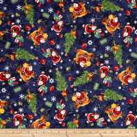 Retro Santa Tossed Christmas Icons Light Navy