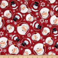 Retro Santa Tossed Santas & Snowmen Dark Red