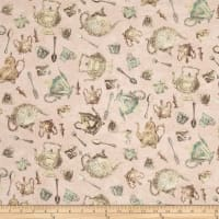 Tea Time  Tossed Teacups & Spoons Light Pink