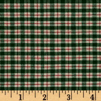 Plaid Shirting Green/Red/Cream Cotton