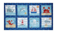 "Sail Away Block 24"" Panel Royal Blue"