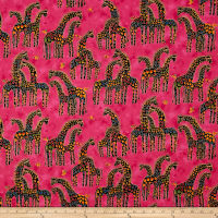 Laurel Burch Mythical Jungle Metallic Giraffes Raspberry Metallic