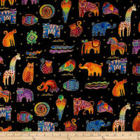 Laurel Burch Mythical Jungle Metallic Animals Directional Black Metallic