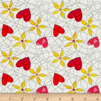 Breezy Blooms Scribble Heart Flower WhtMulti