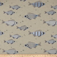 Golding by P Kaufmann Fish Tales Blue/Linen