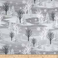 Frosty Folks Flannel Forest Scenic Gray