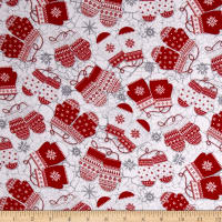 Frosty Folks Flannel Mittens Red