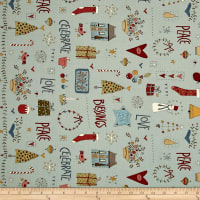 Celebrating Christmas Large Characters And Christmas Motifs Light Blue
