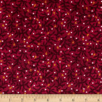 Kim Diehl Winter Cheer Flannel Branches And Stars Red