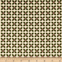 Kim Diehl Winter Cheer Flannel Sprigged Leaf Cream