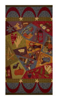 "Autumn Song Crazy Quilt 23.5"" Panel Green"