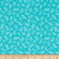 Sweet Florals Scribble Leaves Turquoise