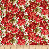 Noel Metallic Poinsettias Linen White