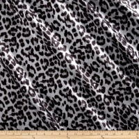 International Deisgner Stretch Sequined Animal Print Black/Matte Silver
