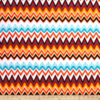 Jersey Knit Chevron Orange/Tea/Red/Whtie