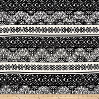 Rihan Jersey Knit Tribal Chevron/Damask Black/White