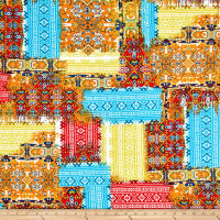Rihan Jersey Knit Assorted Aztec Print Orange/Red/Sky Blue/Yellow