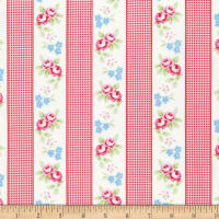 Tanya Whelan Rambling Rose Gingham Ticking Red