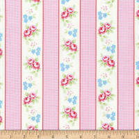 Tanya Whelan Rambling Rose Gingham Ticking Pink