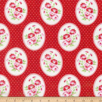 Tanya Whelan Rambling Rose Granny's Wallpaper Red