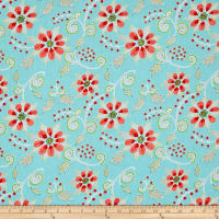 Dena Designs Winterland Poinsettia Blue